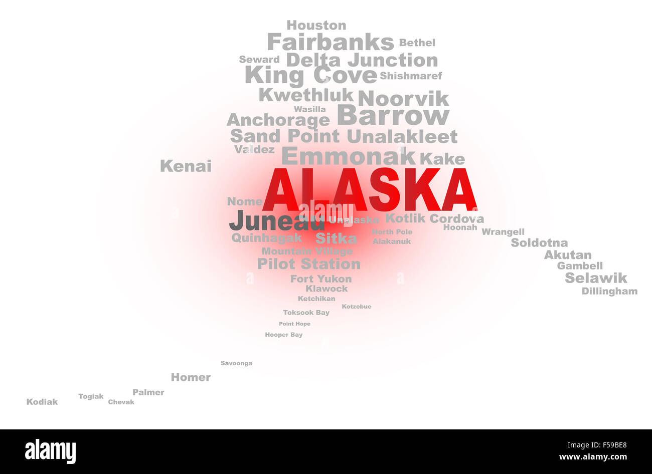 State map shape with the text ALASKA and the names of the major