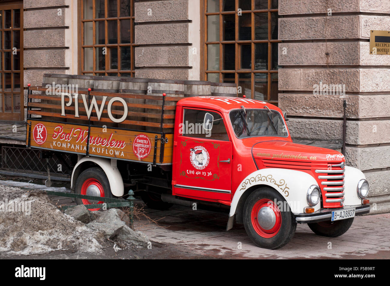 Old fashioned beer truck in Warsaw, Poland Stock Photo: 89374316 ...