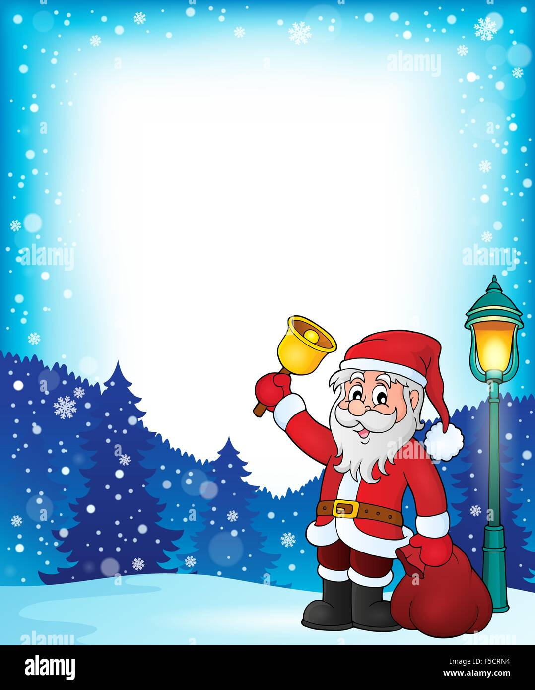 Santa Claus with bell theme frame 1 - picture illustration Stock ...