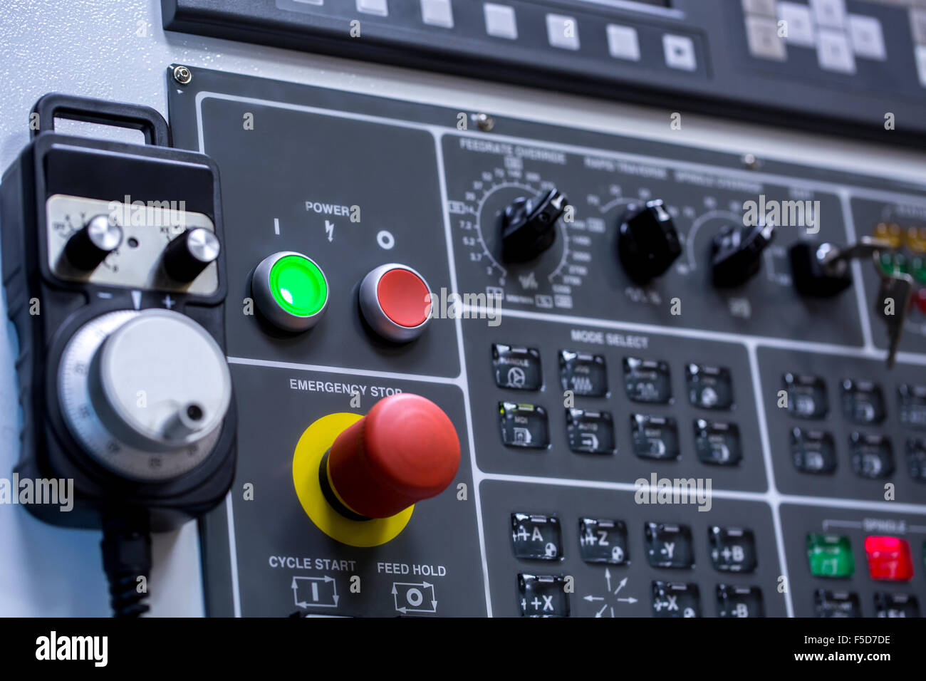 Control panel of machine. Switches, close-up Stock Photo, Royalty ...
