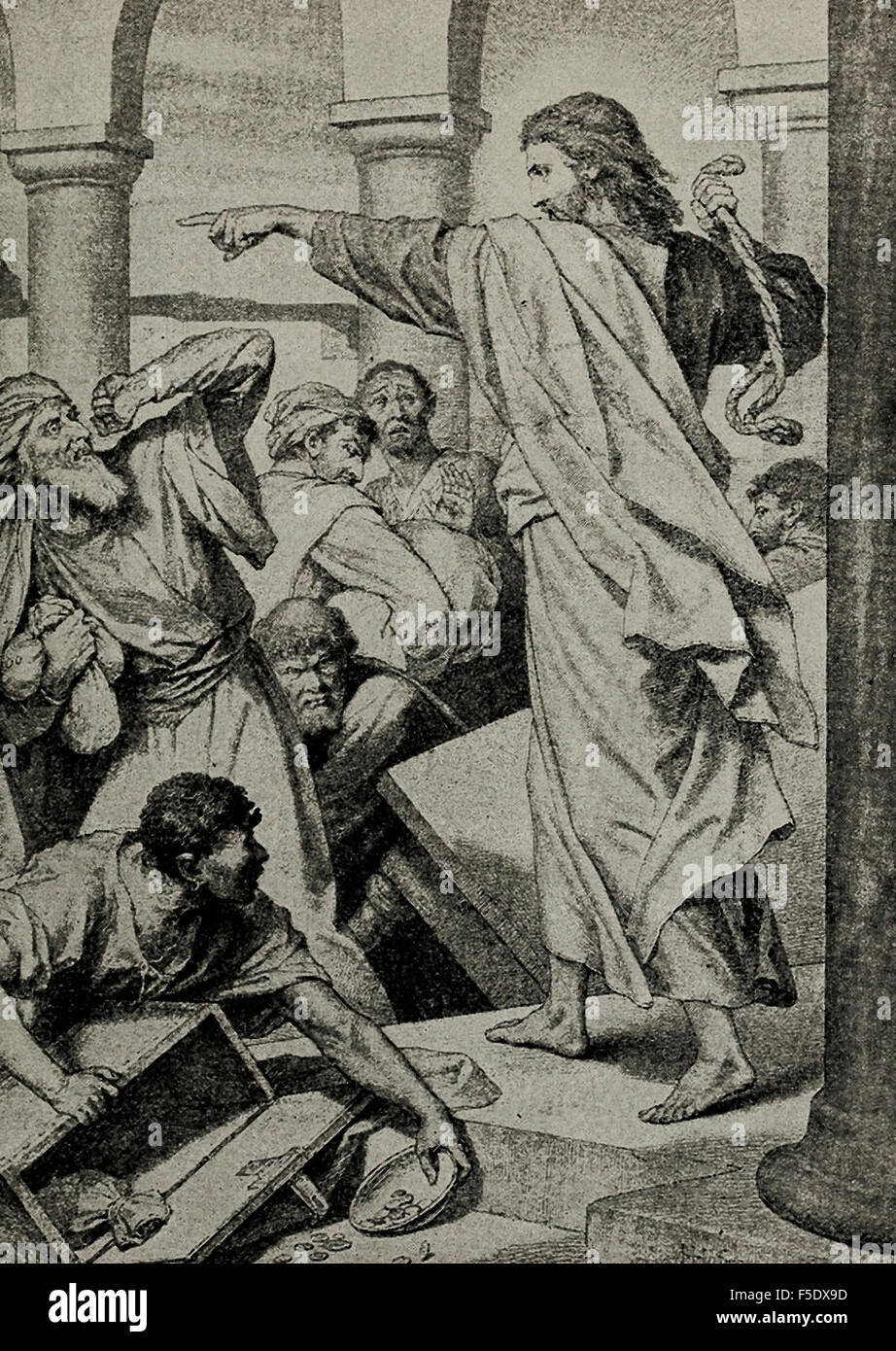 Jesus Christ Driving Out The Money Changers From Temple
