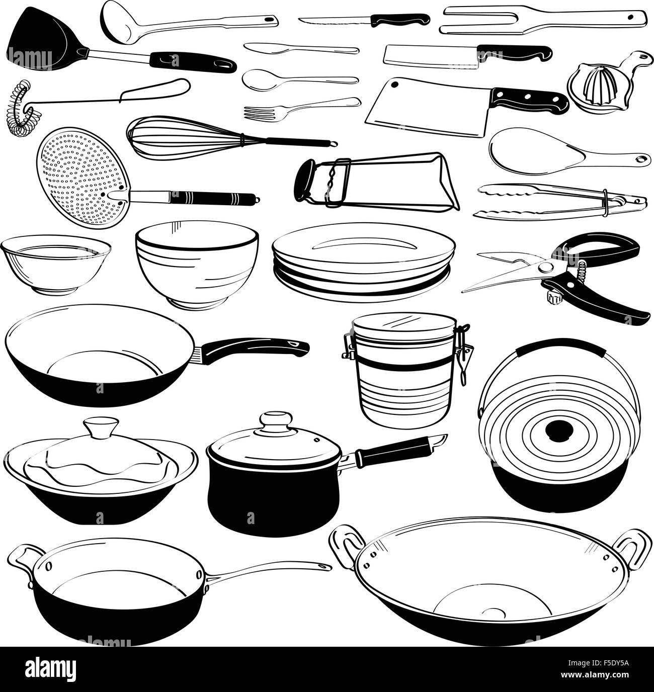 Kitchen Tool Utensil Equipment Doodle Drawing Sketch Stock Vector ...