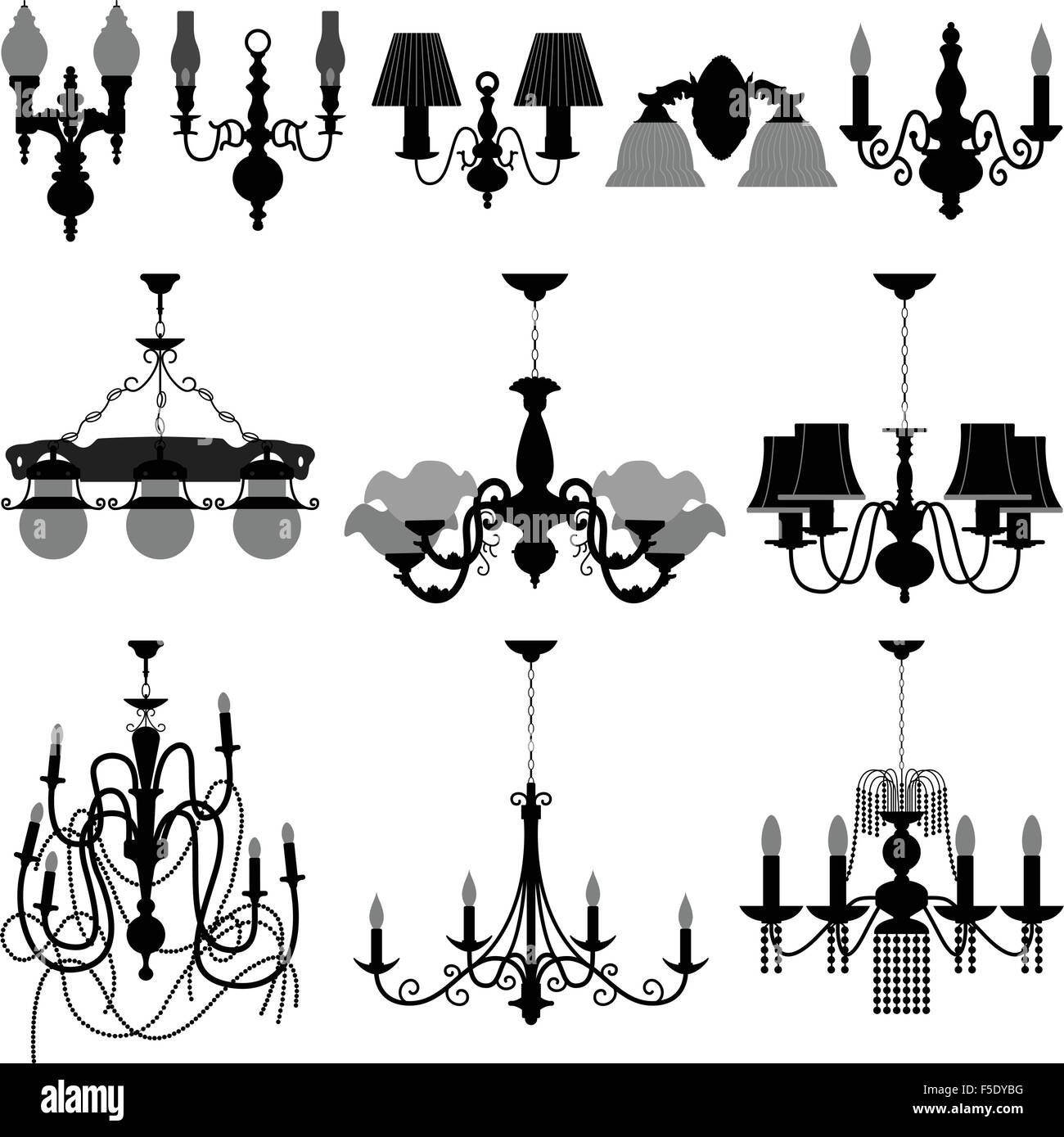 Chandelier Light Lamp Design Wall Ceiling Stock Vector Art ...