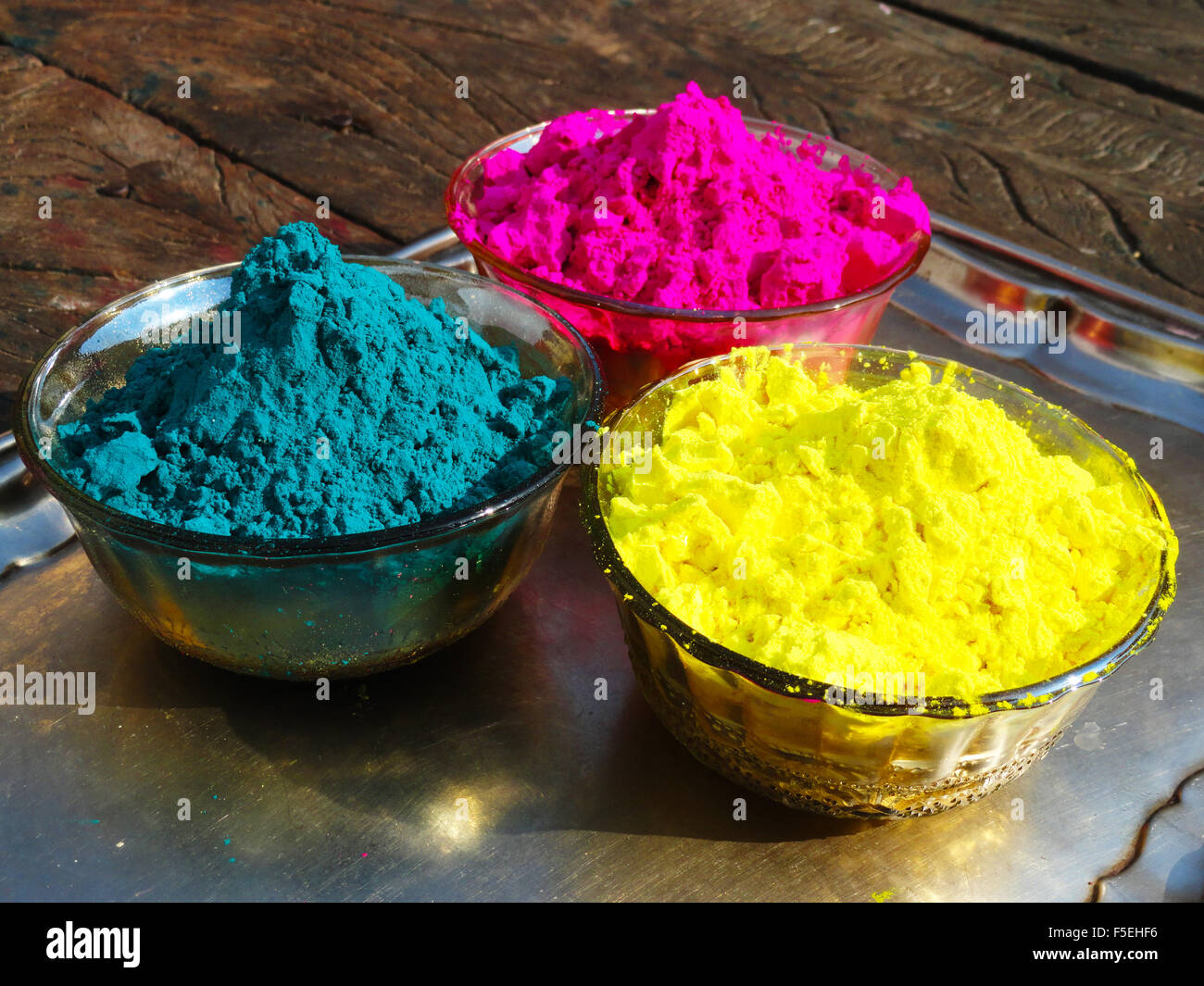 colorful gulal from holi festival india stock image