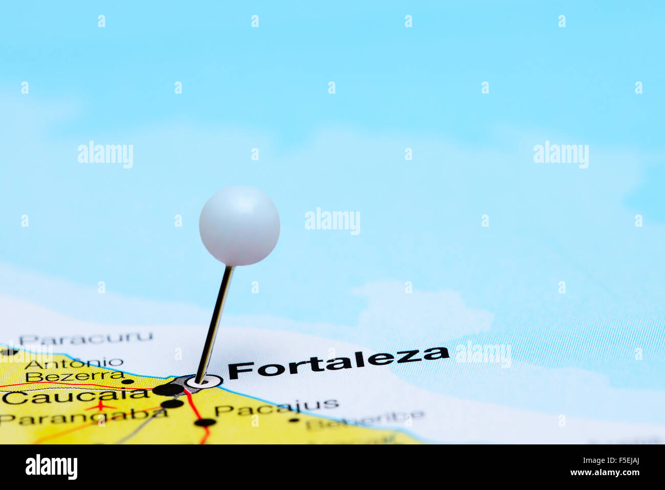 Fortaleza pinned on a map of Brazil Stock Photo Royalty Free Image