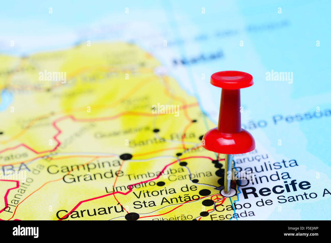 Recife pinned on a map of Brazil Stock Photo Royalty Free Image