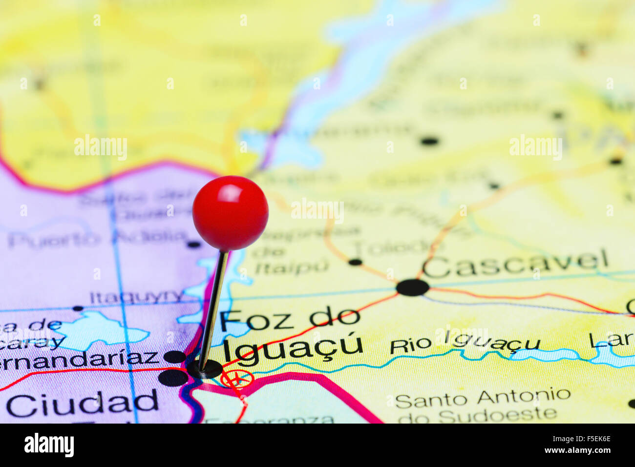 Foz do Iguacu pinned on a map of Brazil Stock Photo Royalty Free