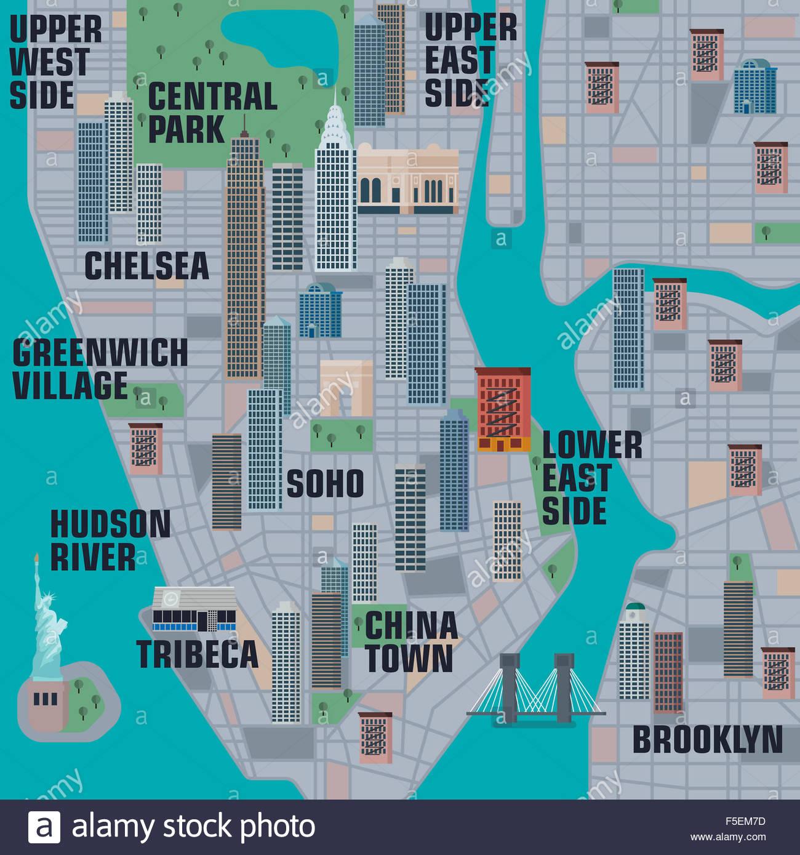 Illustrated Map Of Manhattan New York City Photo Royalty – Map Manhattan