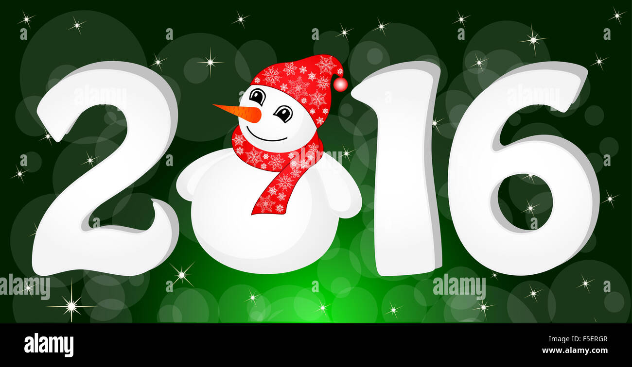 Greeting cards vector illustration the idea for the christmas banner greeting cards vector illustration the idea for the christmas banner happy new year 2016 with snowman and santa hat kristyandbryce Choice Image