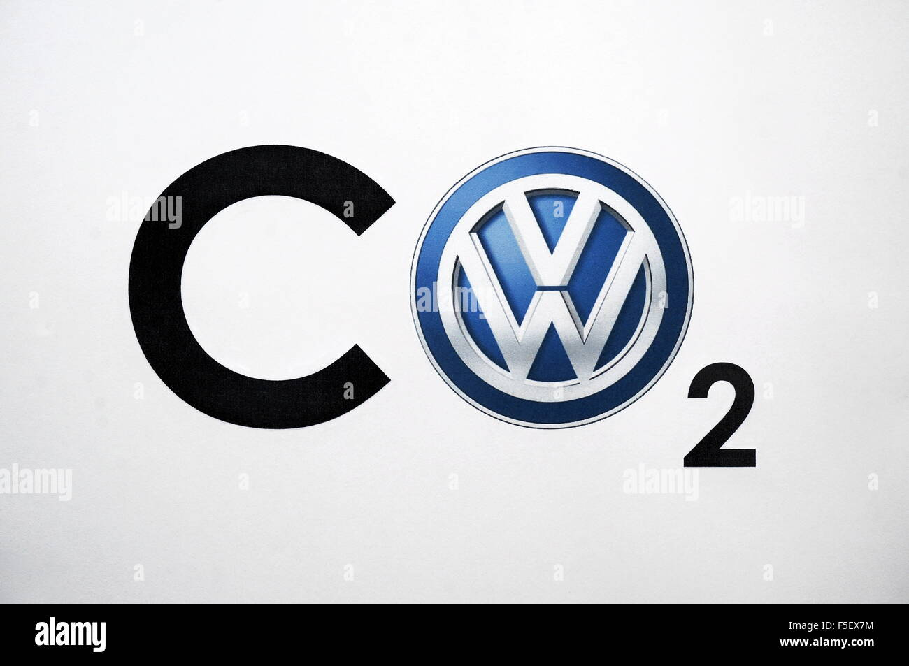Illustration the vw logo replaces the letter o in the total illustration the vw logo replaces the letter o in the total formula co2 for carbon dioxide the photo was taken on 28 september 2015 buycottarizona Images