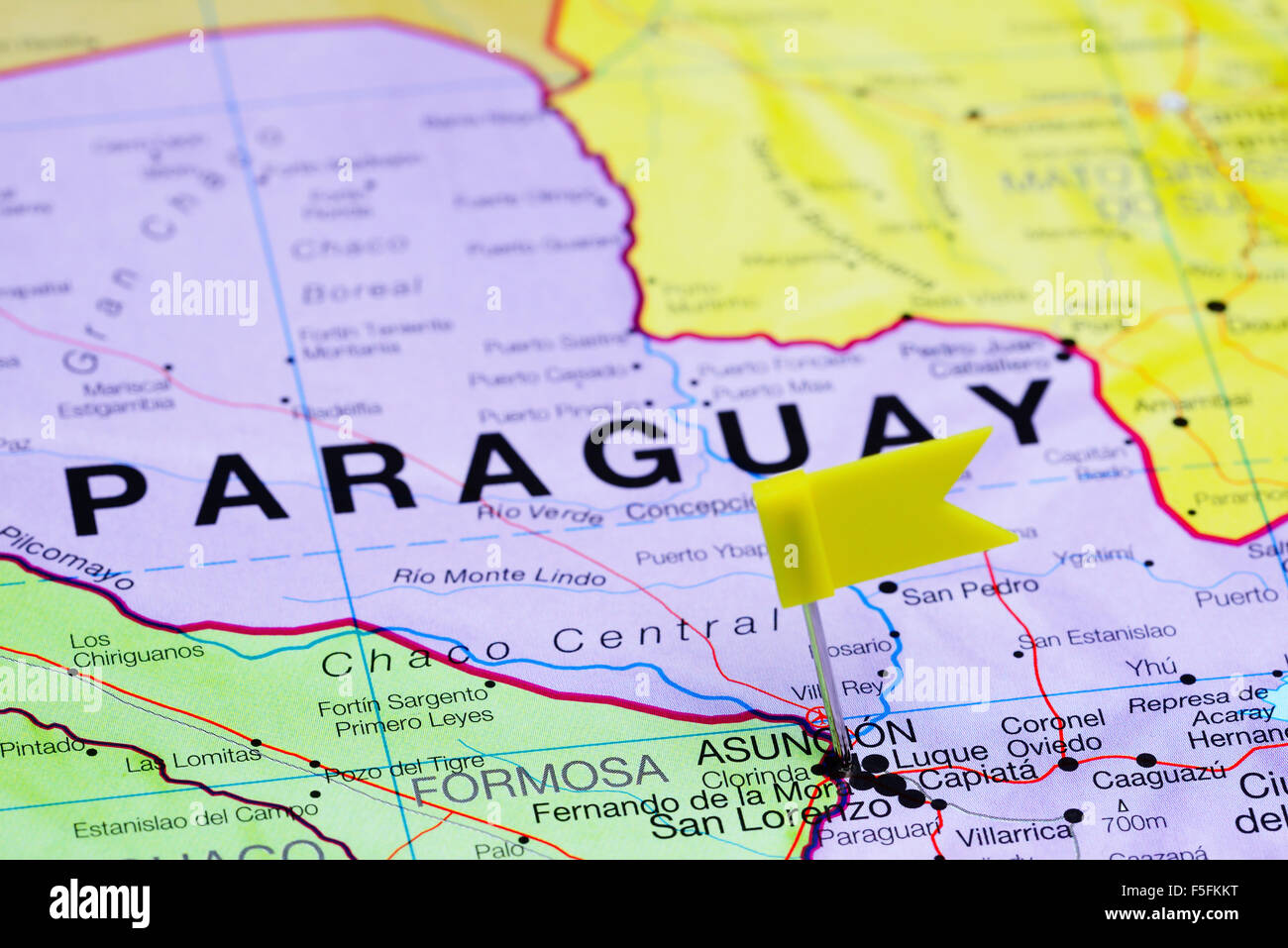 Asuncion pinned on a map of America Stock Photo Royalty Free Image