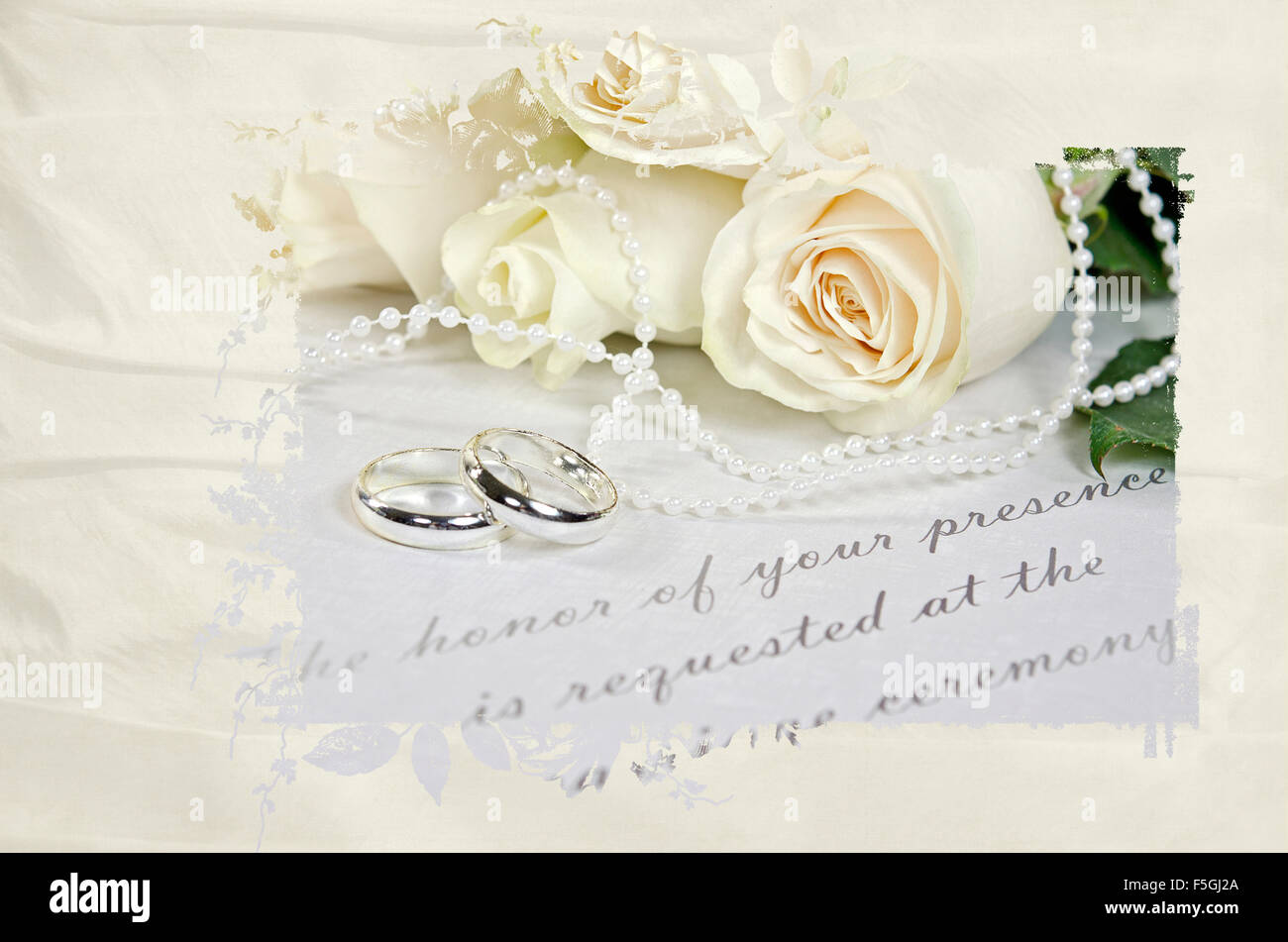 Stock Photo  Wedding Rings And Rose Bouquet With Pearls On Formal Wedding  Invitation In Masked Frame