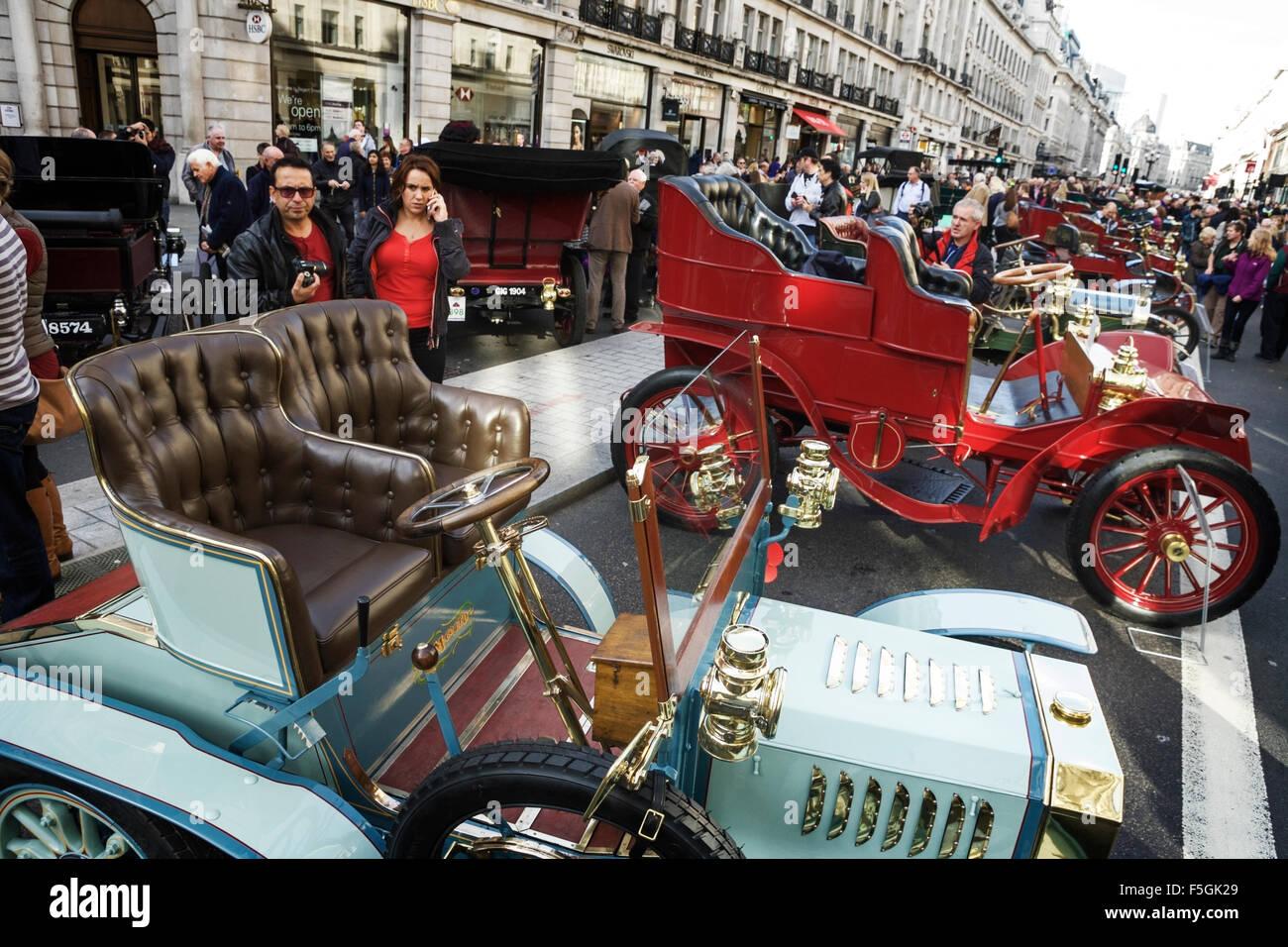 Veteran cars at the Regent Street motor show, London, England, UK ...