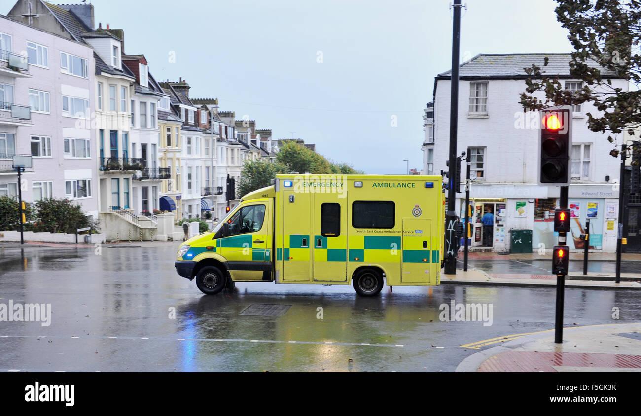 south east coast ambulance service stock photos south east coast an nhs south east coast ambulance service emergency ambulance driving through brighton uk photograph taken by