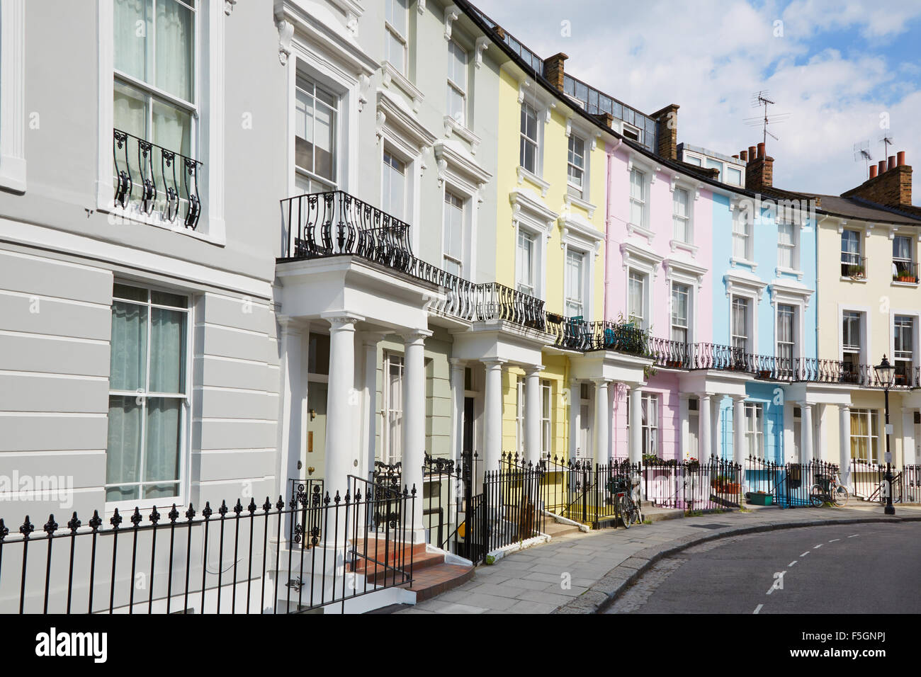 row of colorful london houses in primrose hill stock photo