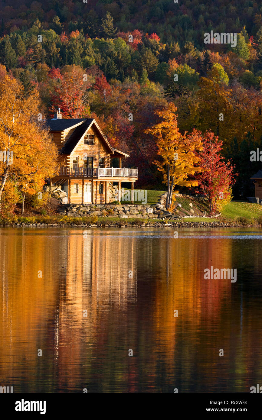 lake house at sunset in autumn vermont new england usa