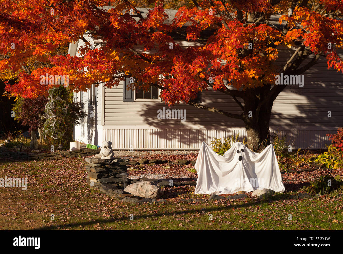 halloween decorations outside a house stowe vermont new england usa