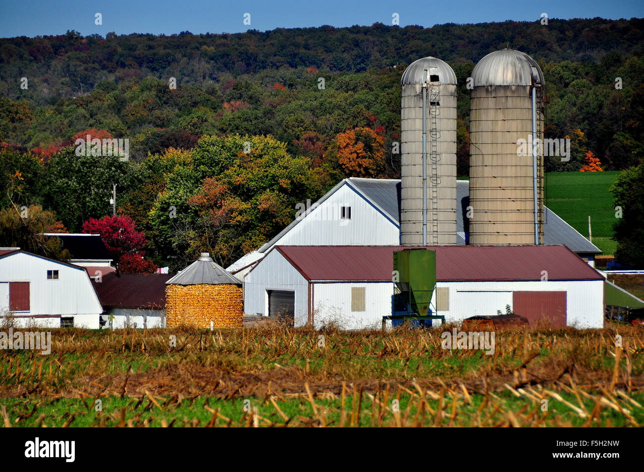 Amish crib for sale - Lancaster County Pennsylvania Pristine Amish Farm With Silos Barns And A Filled Corn Crib