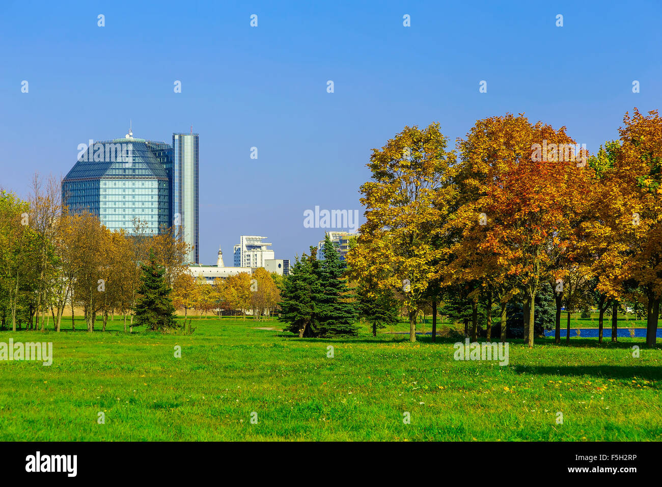 Office Buildings Behind Park with Colorful Trees on Green Grass ...