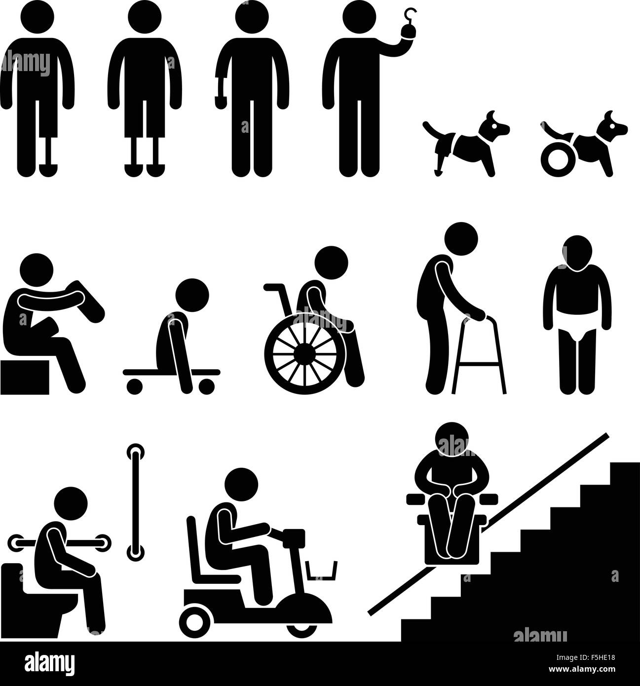 Disability equipment black and white stock photos images alamy amputee handicap disable man tool equipment stick figure pictogram icon stock image biocorpaavc