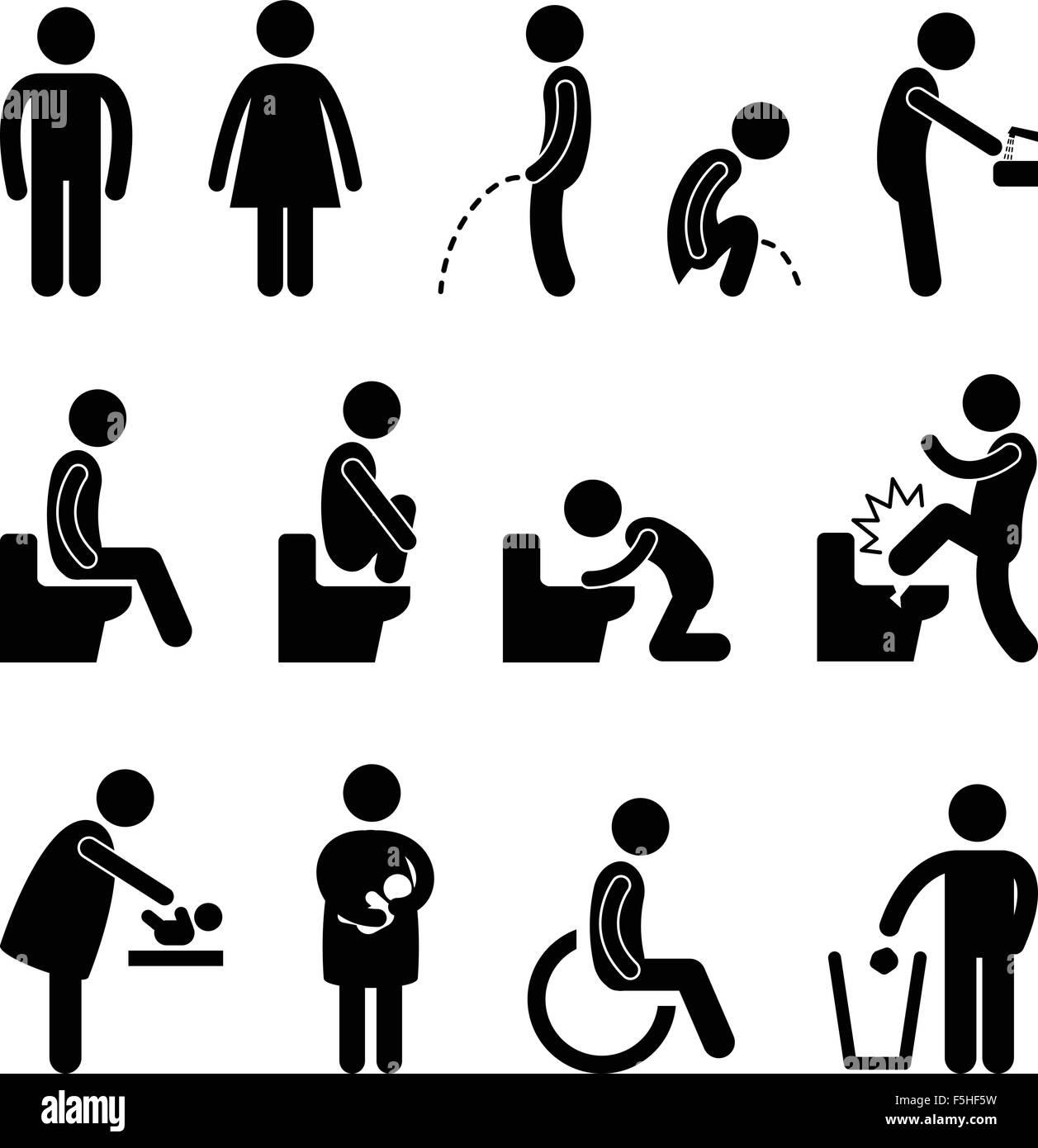 Bathroom Sign Person toilet bathroom pregnant handicap public sign stock vector art