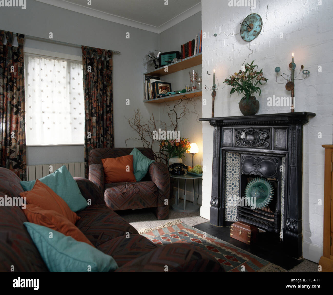 Original Edwardian Cast Iron Fireplace In Nineties Living Room