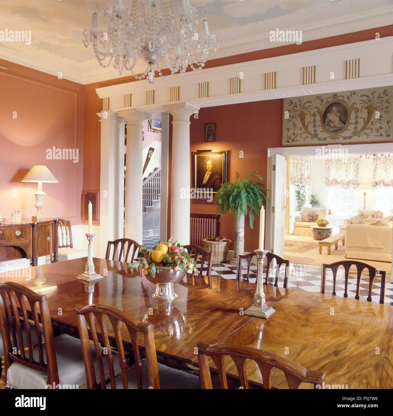 Classical Columns Dividing Dining Room From Hall And Living In Eighties Home