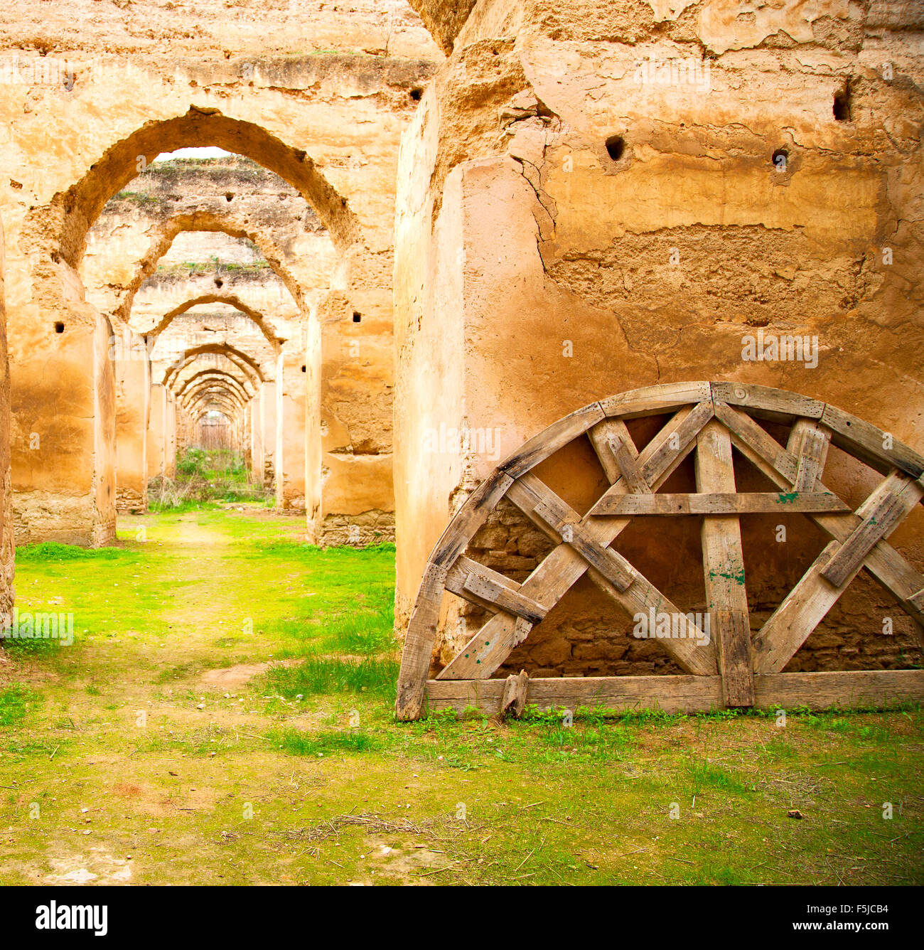 old moroccan granary in the green grass and archway wall Stock ... for Moroccan Archway  555kxo