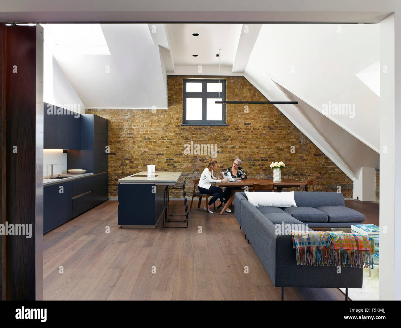 open plan kitchen and living area with skylights and exposed brick wall mandeville apartment london united kingdom architect - Brick Apartment 2015