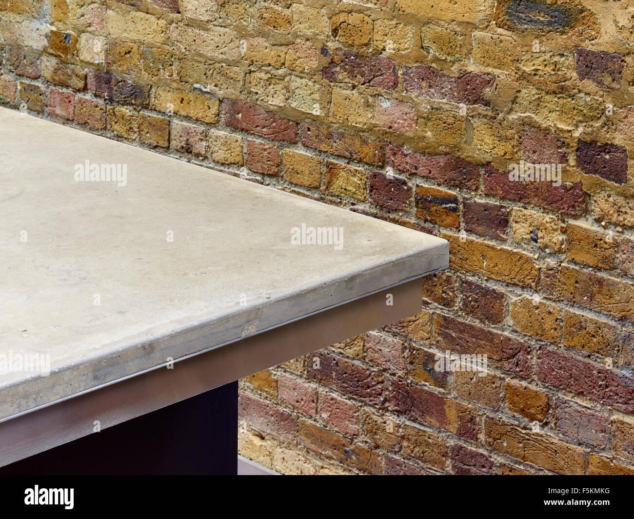 stock photo work surface and exposed brick wall mandeville apartment london united kingdom architect neil davies architects 2015 - Brick Apartment 2015