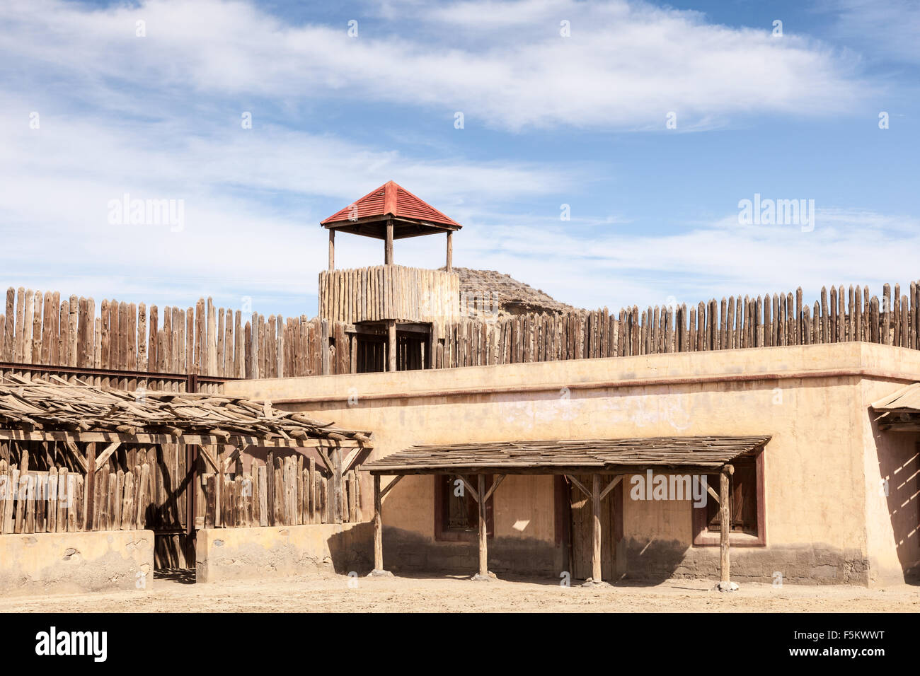 Historic wooden american wild west fort stock photo for Old wooden forts
