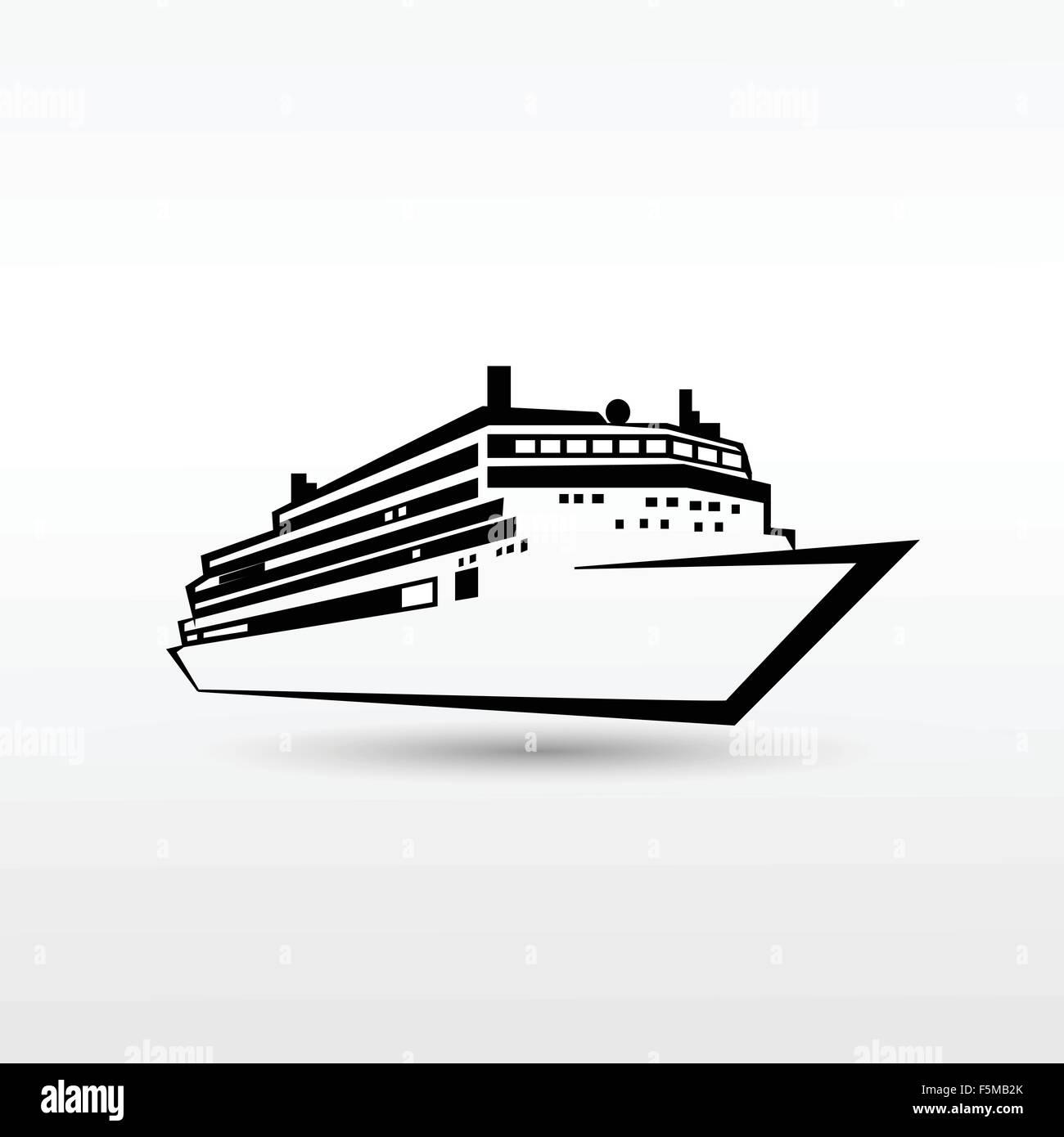 cruise ship logo black icon vector stock vector art