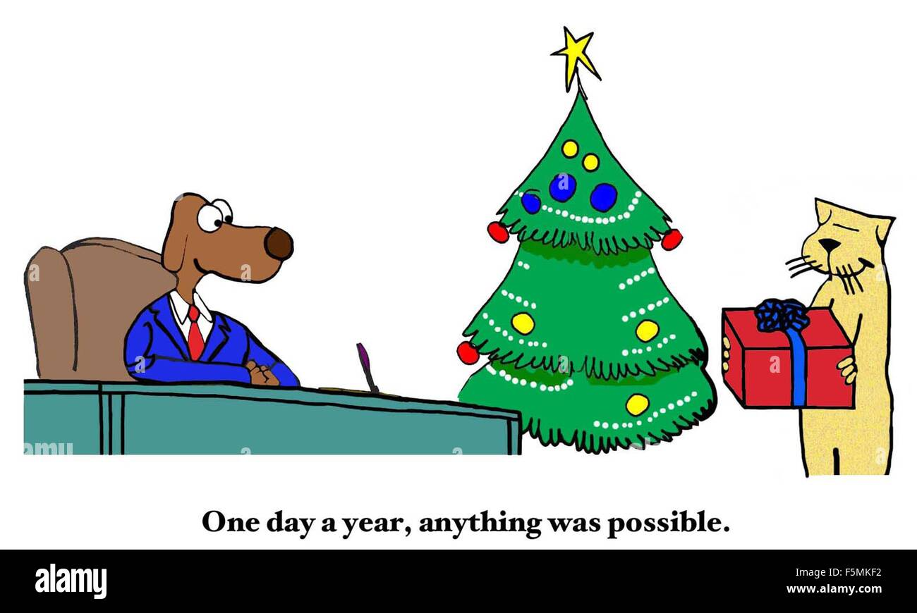 Christmas cartoon of business cat giving a Christmas present to ...