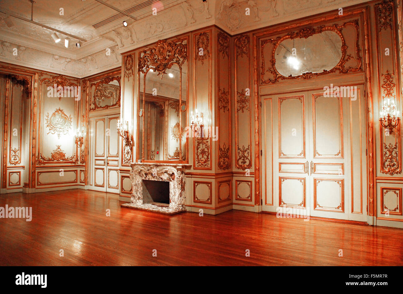 Marble Fireplace in Baroque inspired room in the galleries of the ...