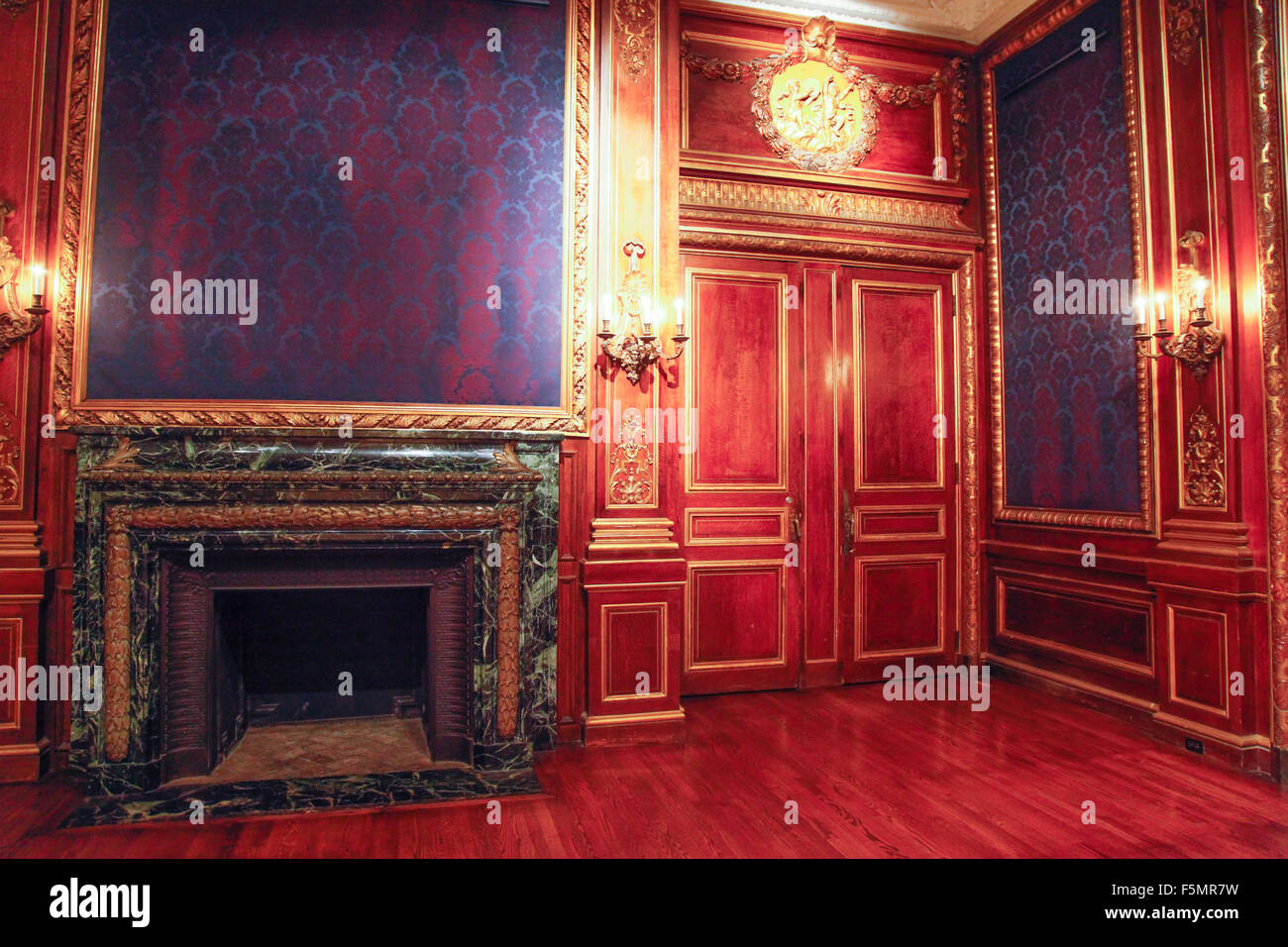 marble fireplace in baroque style room in the galleries of the