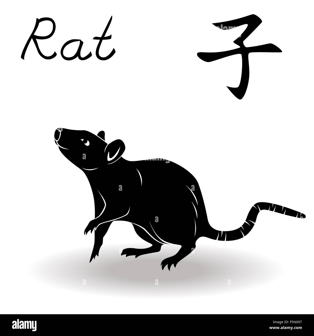 Chinese zodiac sign rat fixed element water symbol of new year chinese zodiac sign rat fixed element water symbol of new year on the chinese calendar hand drawn black vector stencil isolat biocorpaavc Gallery