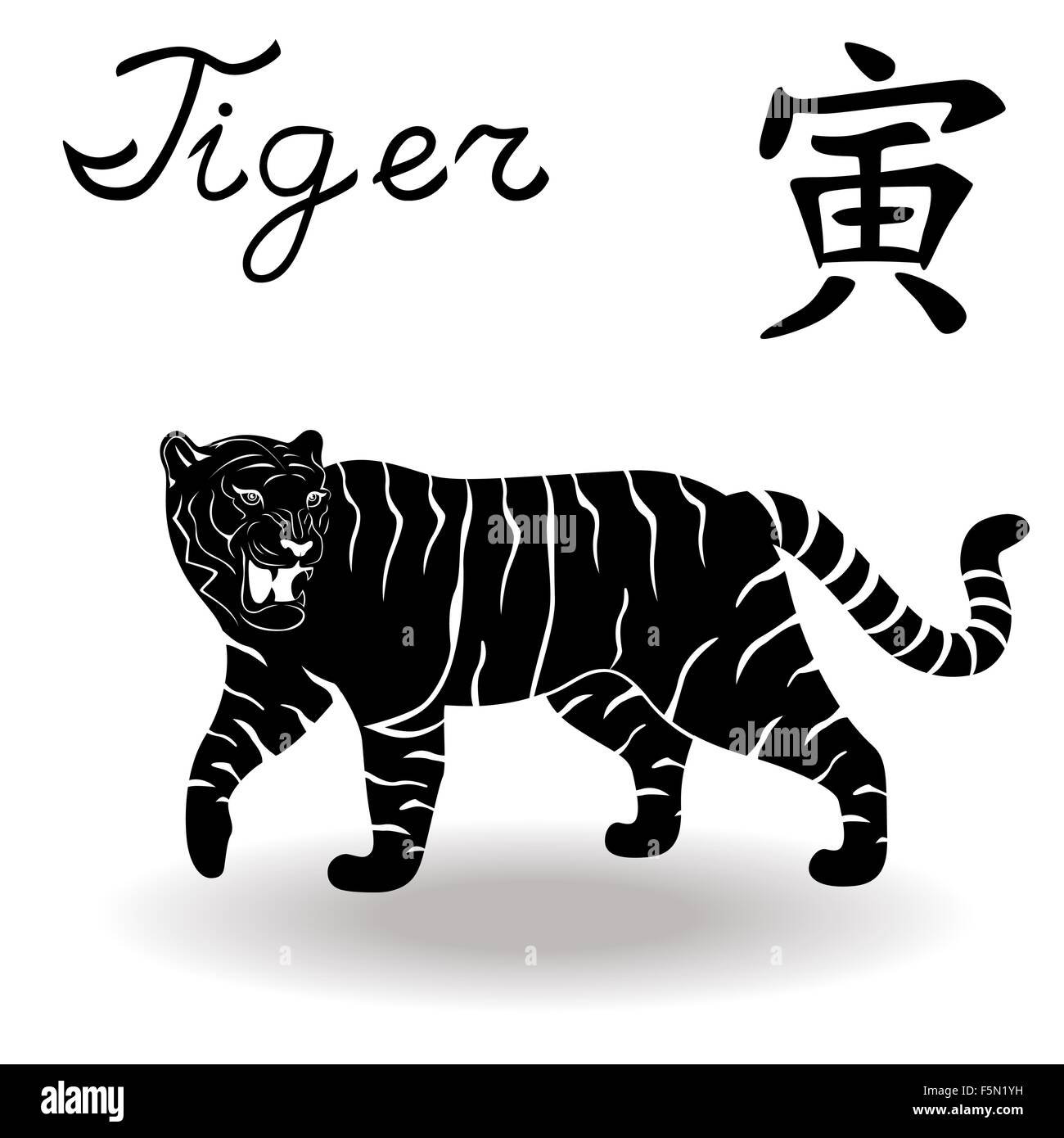 Chinese zodiac sign tiger fixed element wood symbol of new year chinese zodiac sign tiger fixed element wood symbol of new year on the chinese calendar hand drawn black vector stencil isola biocorpaavc