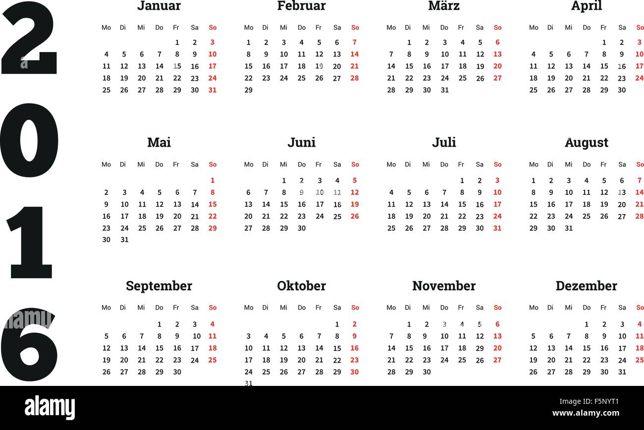 Year Calendar Germany : Calendar year on german language a sheet size stock