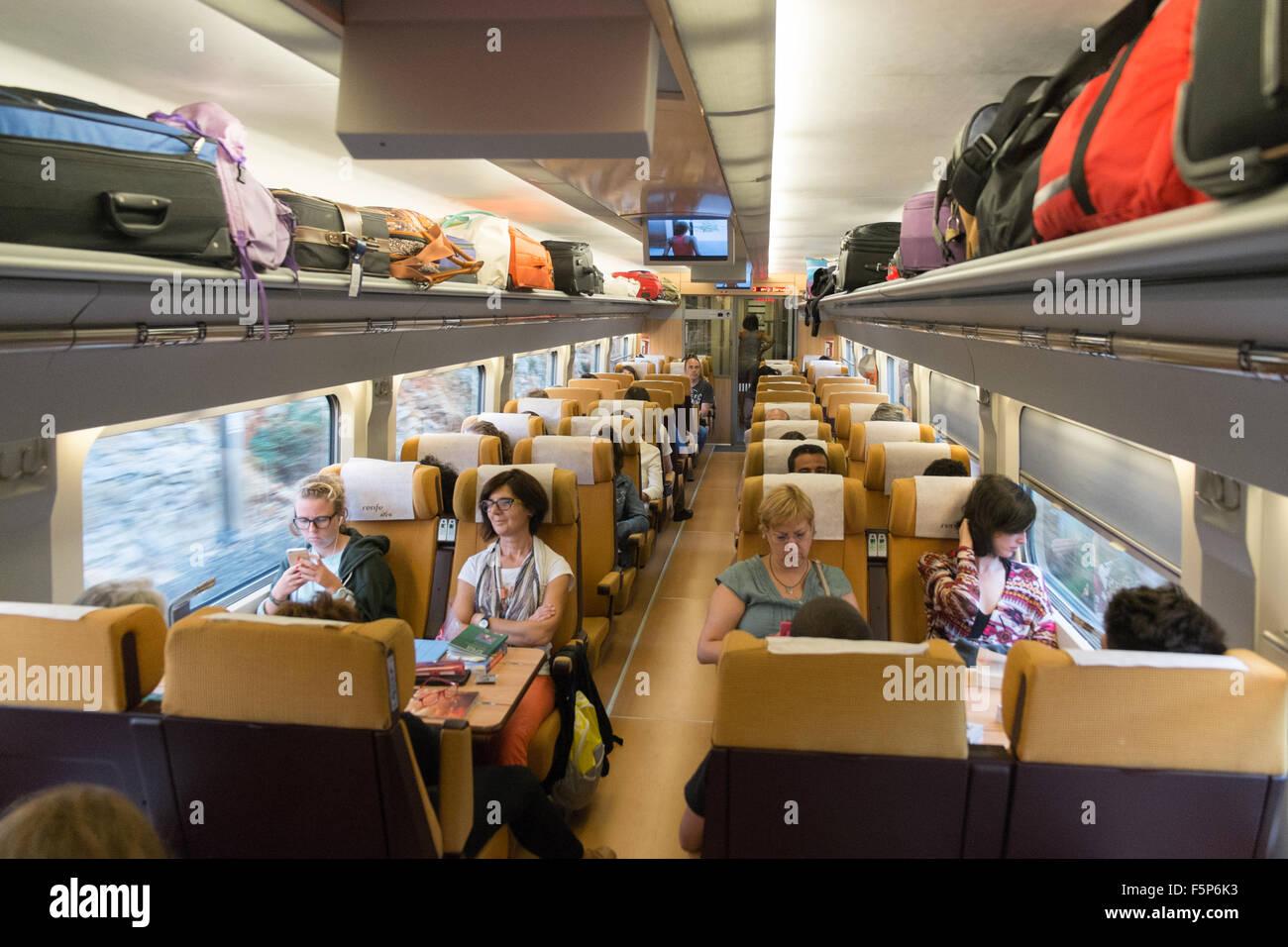 inside tgv fast express train from barcelona sants train station to stock photo 89613303 alamy. Black Bedroom Furniture Sets. Home Design Ideas