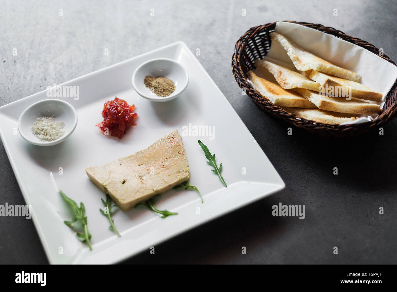 french traditional foie gras pate and toast starter set stock photo royalty free image. Black Bedroom Furniture Sets. Home Design Ideas
