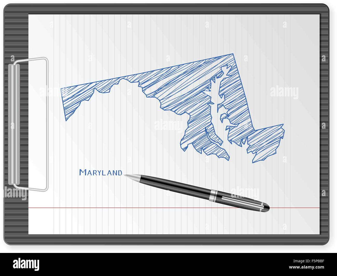 Clipboard with drawing Maryland map Vector illustration Stock