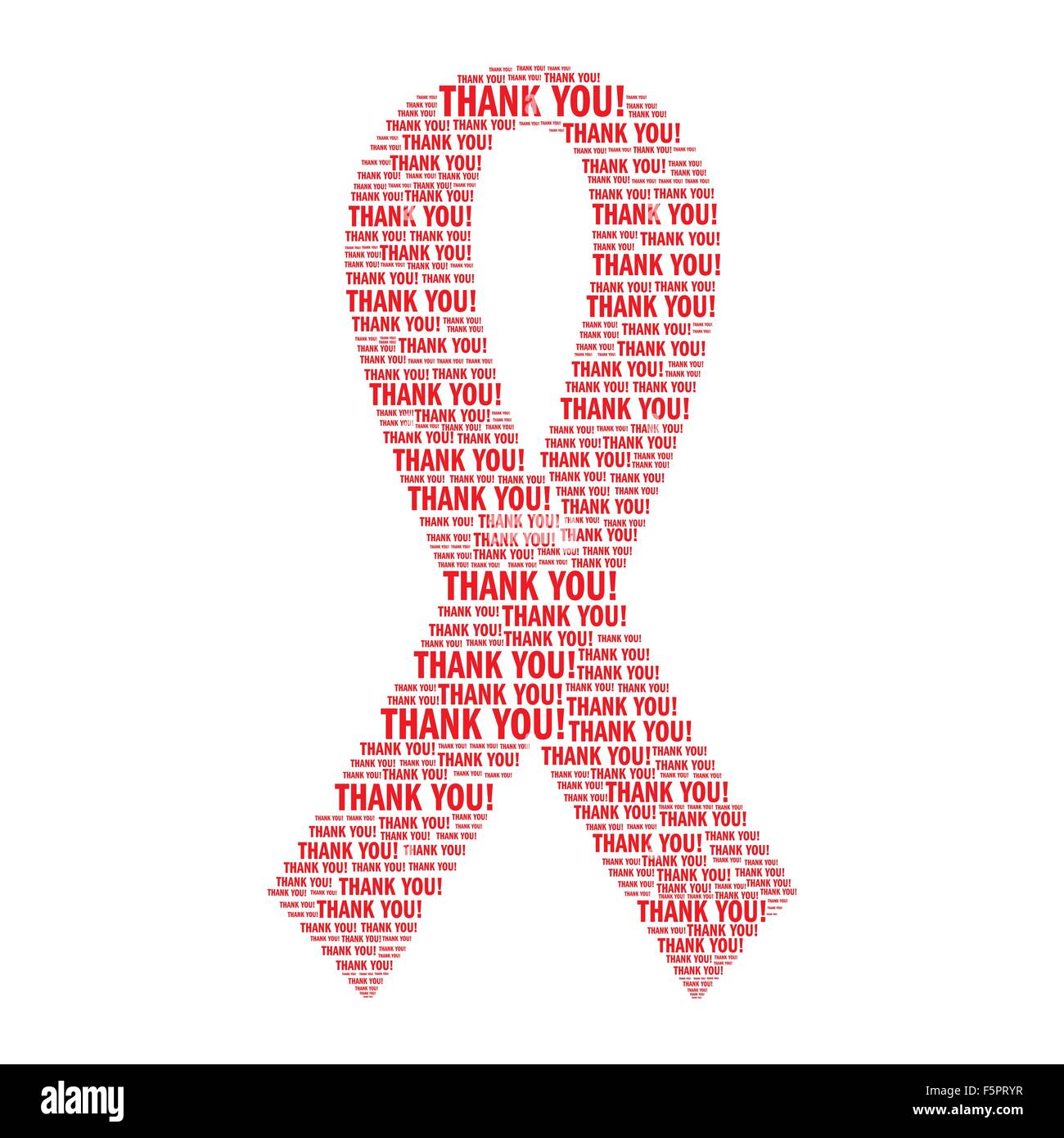 aids awareness red ribbon made of quotthank youquot words