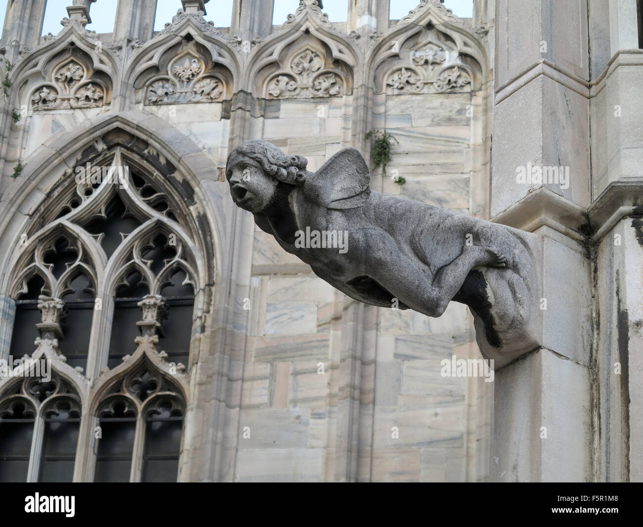 The gothic sculpture architecture details of milan