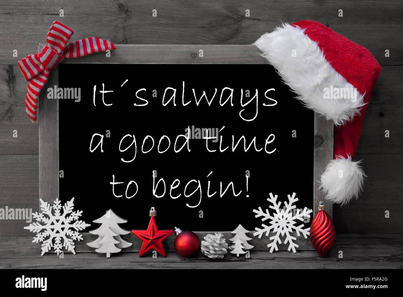 Blackboard santa hat christmas decoration quote good time for Christmas decoration quotes