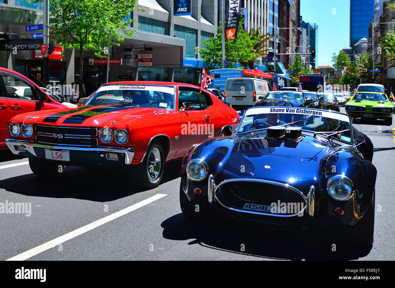 AUCKLAND - NOV 05 2015:US classic muscle cars pared in Auckland ...