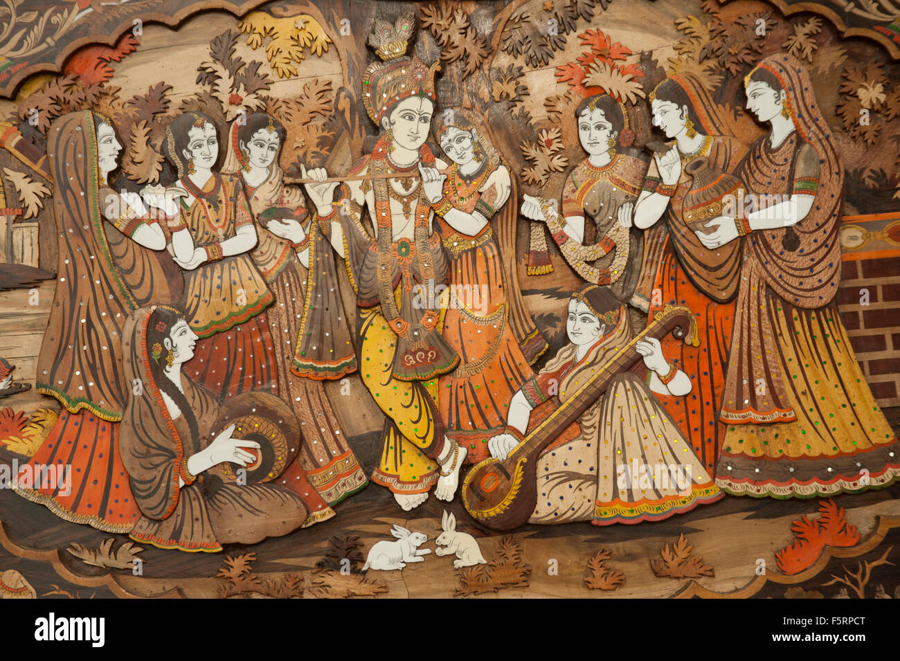 Lovely Radha Krishna Wall Murals Part   39: Wooden Painting Of Radha Krishna,  Surajkund Mela Part 12