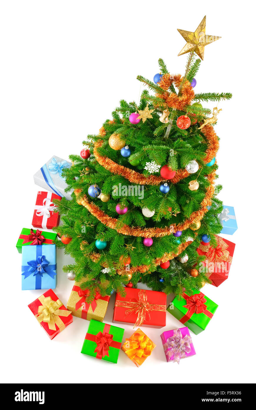 Top view isolated studio shot of a very colorful Christmas tree with ...