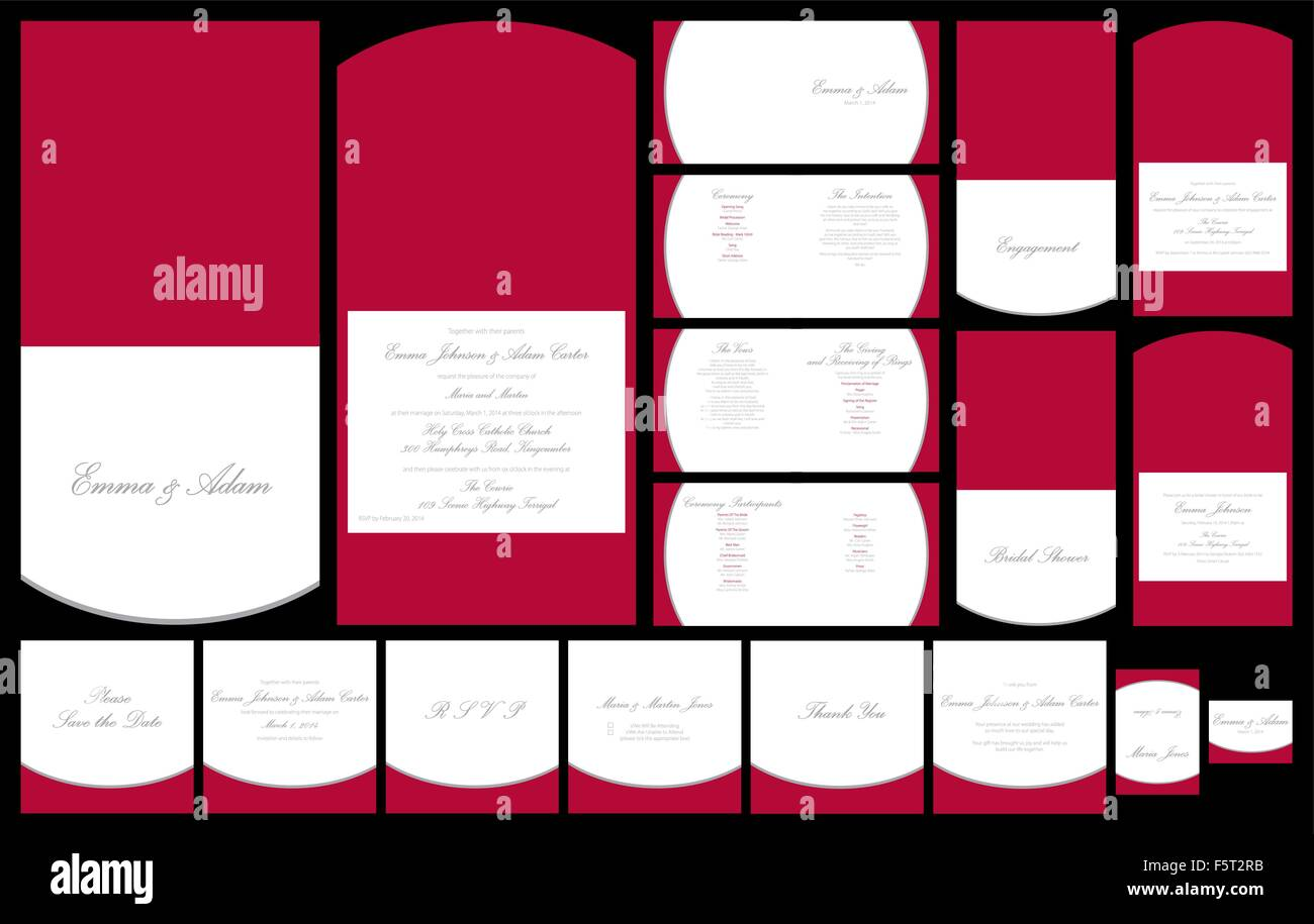Wedding invitation set in vector format Stock Vector Art ...