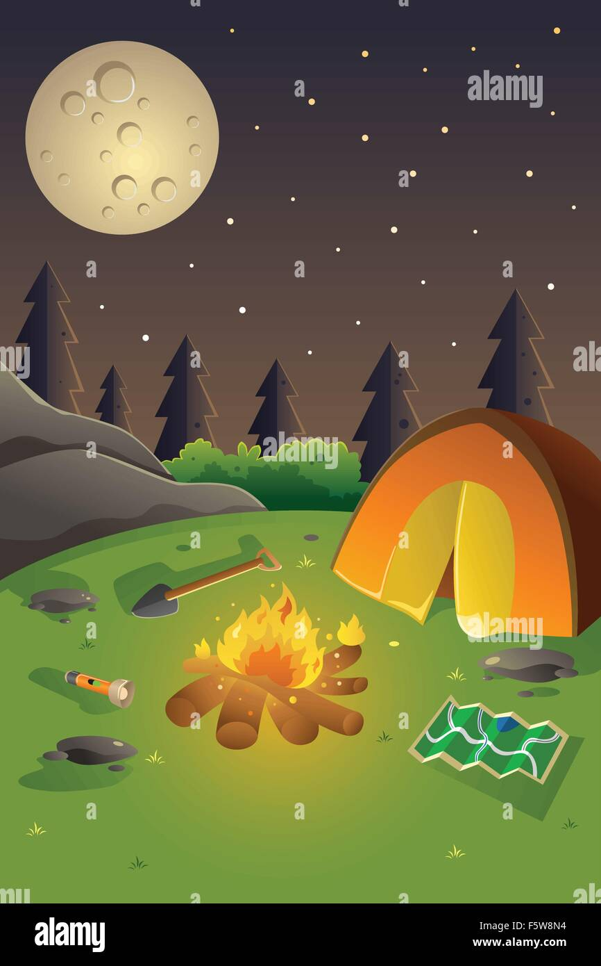 Poster design for youth - A Vector Illustration Of Youth Summer Camp Poster Design With Copyspace