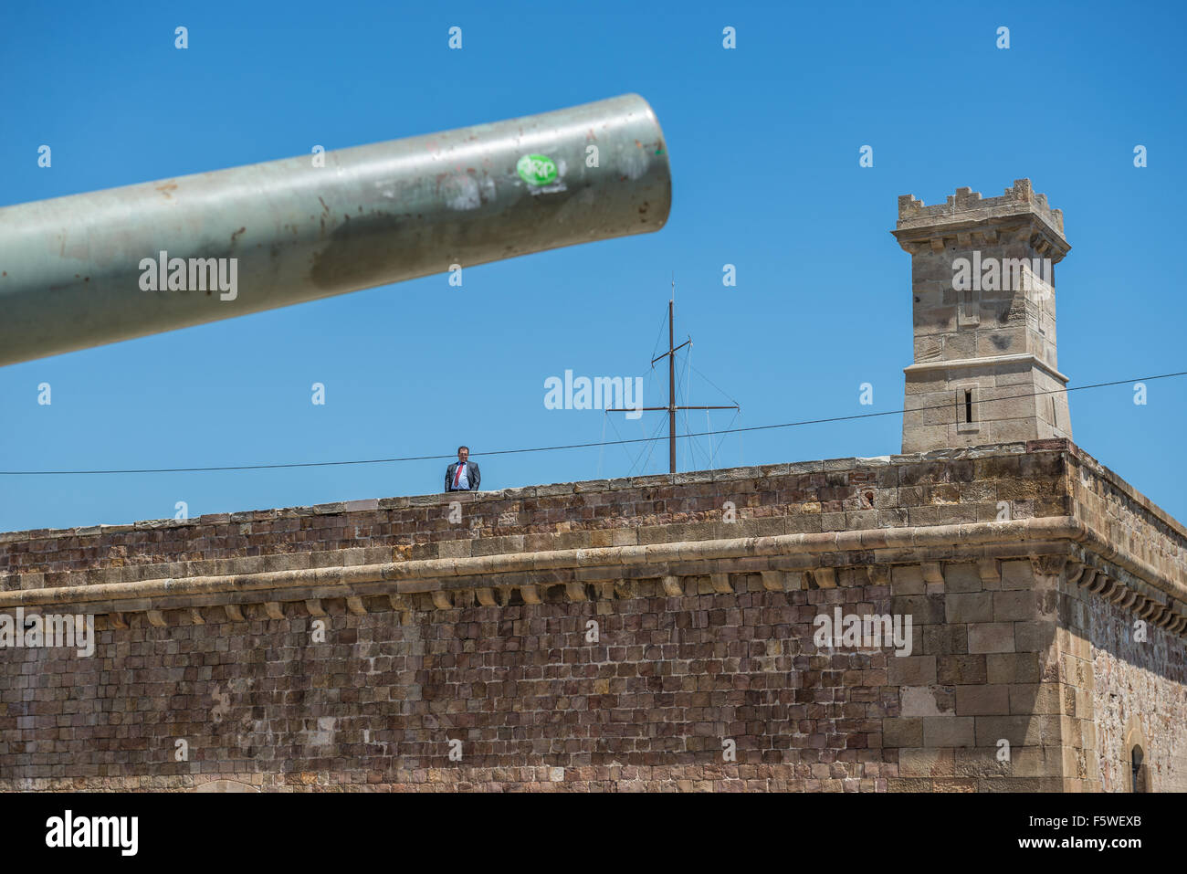 Old Cannon In Montjuic Castle (Castillo De Montjuich) Old Military Fortress  On Jewish Mountain In Barcelona, Spain